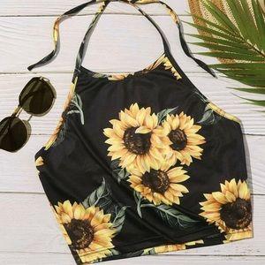 Shein Tie Back Sunflower Halter Top